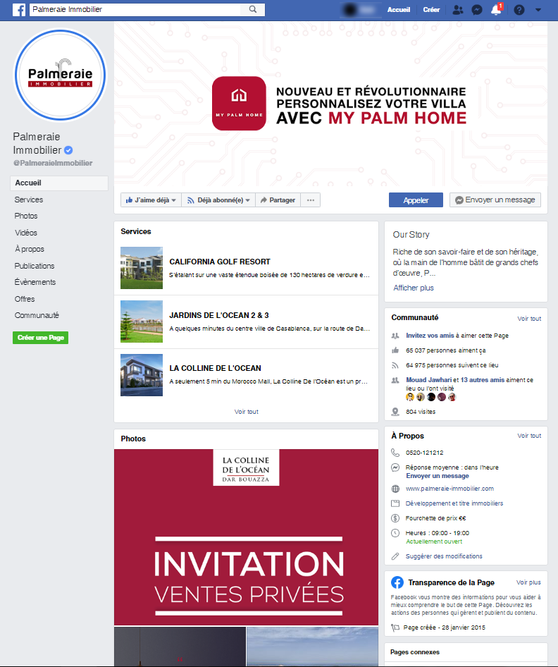 Simulation Page Facebook Palmeraie Immobilier